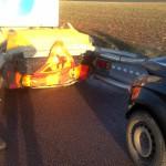Körde in i varningsbil